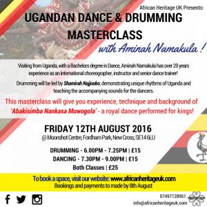 UGANDAN DANCE & DRUMMING MASTERCLASS..|Friday 12th August|…With Aminah Namakula!